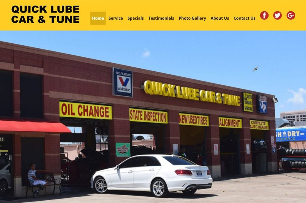 quick lube car and tune Website Preview