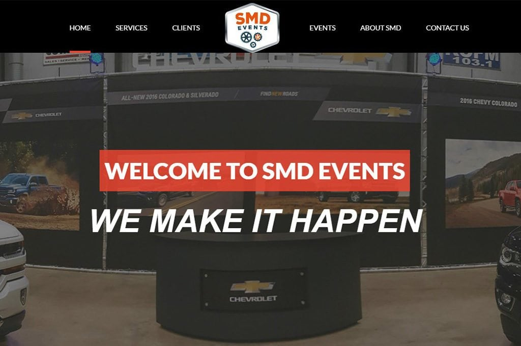 SMD Events website preview