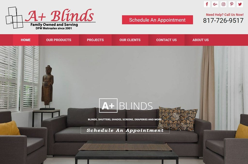 A+ Blinds Website Preview
