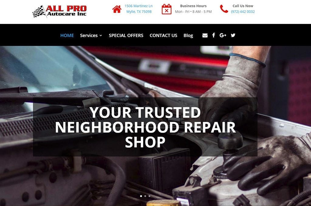 All Pro Autocare website preview