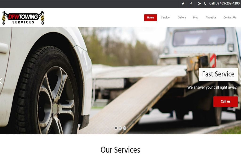 DFW Towing Services Website Preview
