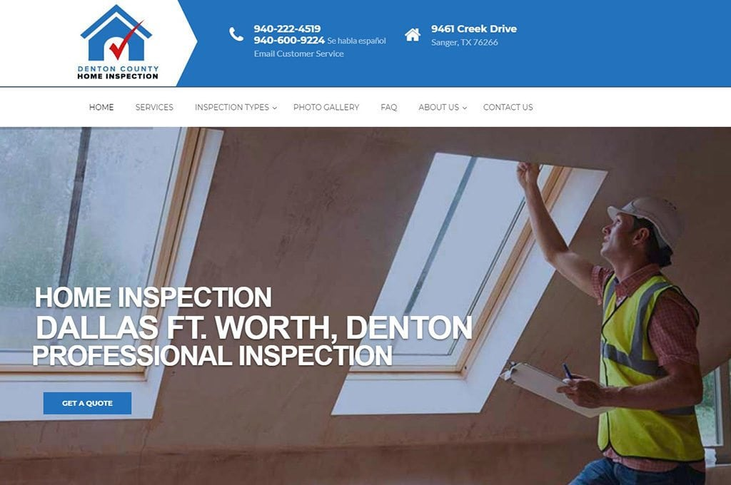 Denton County Home Inspection website Preview