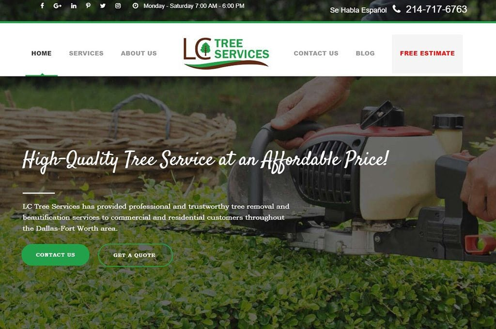 LC Tree Services Website Preview
