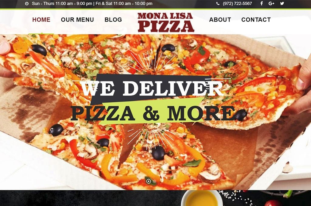 Mona Lisa Pizza Fate TX Website Preview