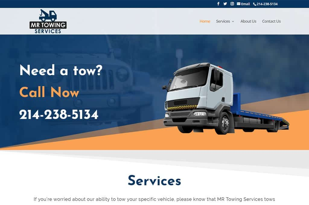 MR Towing website preview
