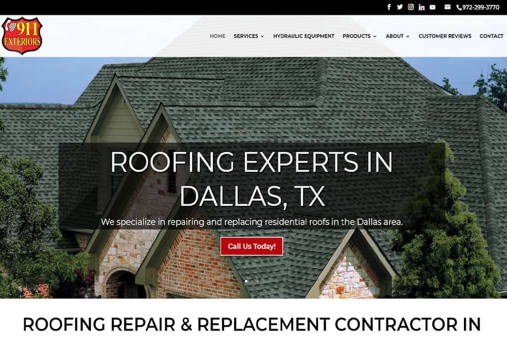 911Exteriors.com website preview